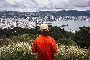 Guy infront of Wellington City, Te Whanganui-a-Tara, Wellington City, Wellington, North Island, New Zealand, Oceania