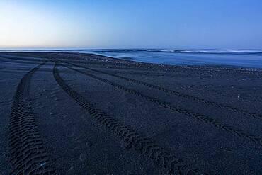 Tracks at beach, Karamea, Buller District, West Coast, South Island, New Zealand, Oceania