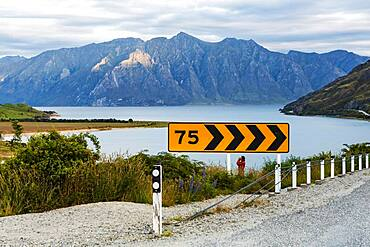 Guy with camera, Lake Hawea, Otago Region, Queenstown-Lakes District, South Island, New Zealand, Oceania