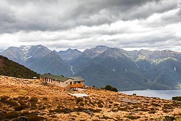 Hut, Lake Te Anau, South West New Zealand World Heritage Area, Te Wahipounamu, Fiordland National Park, South Island, New Zealand, Oceania