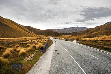 Highway, Lindis Pass, South Island, New Zealand, Oceania