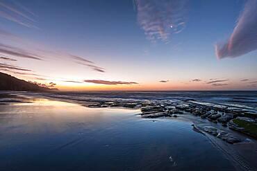 Sunset at the ocean, Kahurangi National Park, South Island, New Zealand, Oceania