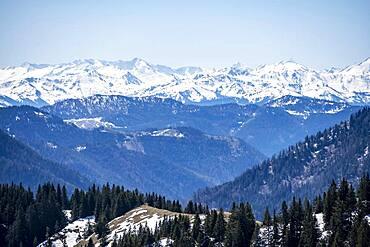 Snowy mountains, view from Breitenstein, Fischbachau, Bavaria, Germany, Europe