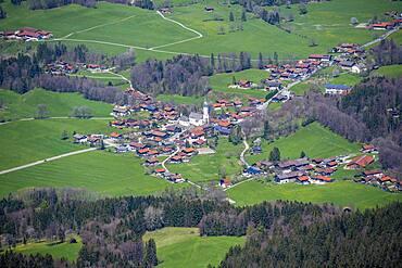 Bird's eye view of a small village, Elbach, Fischbachau, county Miesbach, Bavaria, Germany, Europe