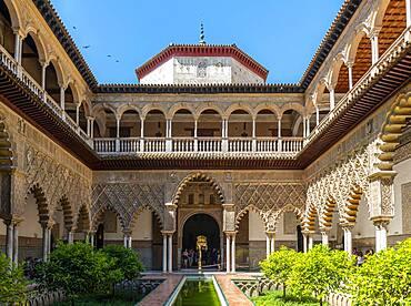 Patio de las Doncellas, Court of the Virgins, Italian Renaissance courtyard with stucco arabesques in Mudejares style, Royal Palace of Seville, Real Alcazar de Sevilla, Seville, Spain, Europe