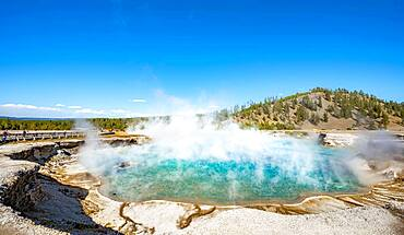 Hot spring with steaming turquoise water, Excelsior Geyser Crater, Yellowstone National Park, Wyoming, USA, North America