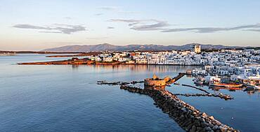 Evening atmosphere, aerial view, town view and harbour of Naoussa, harbour wall with Venetian ruins, Paros, Cyclades, Greece, Europe