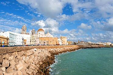 View of the dome and spires of Cadiz Cathedral, Cathedral of the Holy Cross over the sea, waterfront, Cadiz, Andalucia, Spain, Europe