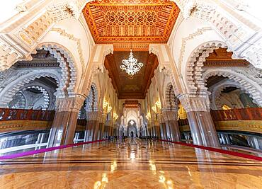 Interior view, prayer hall decorated with ornaments, Hassan II Mosque, Grande Mosquee Hassan II, Moorish architecture, Casablanca, Morocco, Africa