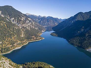 Plansee, mountains with lake, Ammergau Alps, district Reutte, Tyrol, Austria, Europe