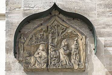 Relief Jesus on the Mount of Olives 15th century, at St Marienkirche, Sulzbach-Rosenberg, Upper Palatinate Bavaria, Germany, Europe