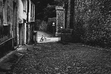 Kid with bike at the street of the old town, Paczkow, Poland, Europe