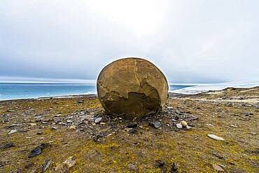 Giant stone sphere, Champ Island, Franz Josef Land archipelago, Russia, Europe