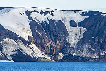 Flat table mountains covered with ice, Franz Josef Land archipelago, Russia, Europe