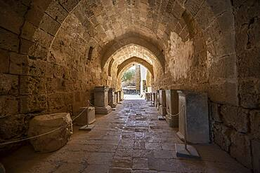 Corridor at the entrance to the Roman temple, Acropolis of Lindos, Lindos, Rhodes, Dodecanese, Greece, Europe