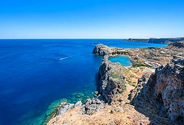 Rocky coast and Paulus Bay, view from the Acropolis, Lindos, Rhodes, Doedekanes, Greece, Europe