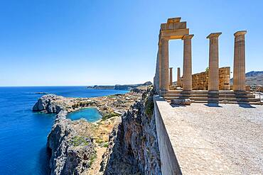 Roman columns, Roman temple, Acropolis of Lindos, back Paulus Bay, Lindos, Rhodes, Dodecanese, Greece, Europe