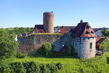 Castle ruin with fortified defence tower, Burgthann, Nuremberg County, Middle Franconia, Franconia, Bavaria, Germany, Europe