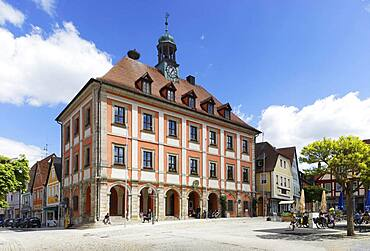 Town hall with bell tower and tower clock at the market place, Baroque, Neustadt an der Aisch, Middle Franconia, Franconia, Bavaria, Germany, Europe
