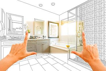 Hands framing custom master bathroom photo section with drawing behind