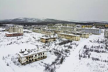Aerial of the abandoned mining city Kadykchan, Road of Bones, Magadan Oblast, Russia, Susuman, Magadan Oblast, Russia, Europe