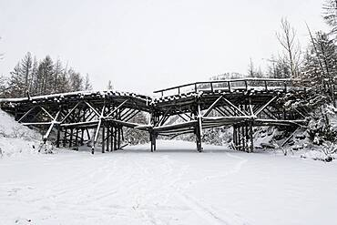 Destroyed wooden bridge on the Road of Bones, Sakha Republic, Yakutia, Russia, Europe