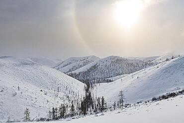 Snow covered mountain pass, Suntar-Khayata mountain Range, Road of Bones, Sakha Republic, Yakutia, Russia, Europe