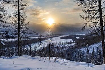 Sunset over the Suntar-Khayata mountain Range, Road of Bones, Sakha Republic, Yakutia, Russia, Europe