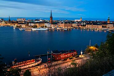 Old Town Stockholm at Blue Hour, Gamla stan, Stockholm, Sweden, Europe