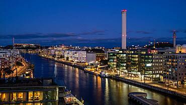 Hammarbyverket heating plant in Martensdal at night, Sodra Hammarbyhamnen, Stockholm