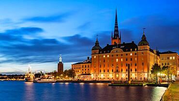 Old Parliament House at blue hour, Stockholm, Sweden, Europe