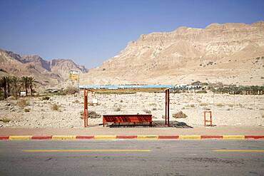 Abandoned bus stop by the dead sea on the road to En Gedi, Negev desert, Israel, Asia