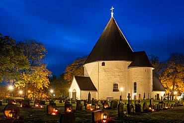 Hagby church at blue hour, Hagby Kyrka, Hagby, Sweden, Europe