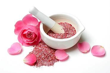 Rose salt in grating bowl, rose petal salt, Germany, Europe