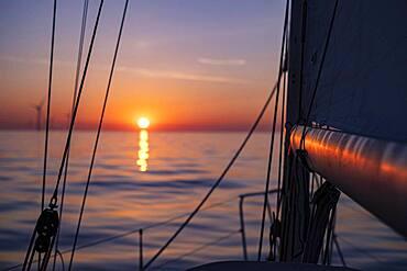 Sailing on the North Sea at sunset