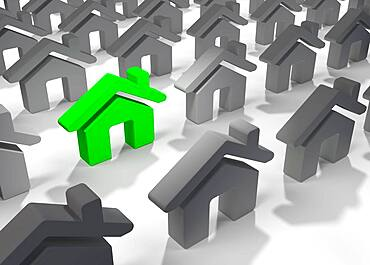 3D illustration of bright green house icon standing out among many other grey houses