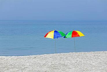 Sunshades on the beach, Wustrow, Fischland, Mecklenburg-Vorpommern, Germany, Europe