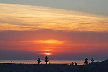 Sunset on the beach, Warnemuende, Rostock, Mecklenurg-Vorpommern, Germany, Europe