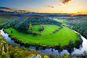 Lahnschleife, view from Gabelstein, sunset, Rhineland-Palatinate, Germany, Europe