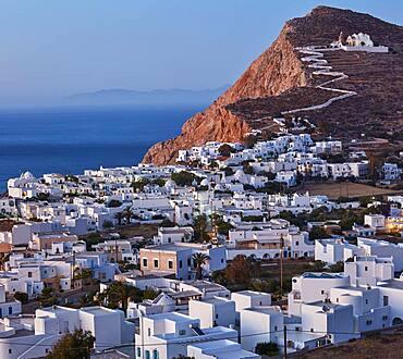 Plaka, the main village on Folegandros at sunset, Folegandros, Cyclades, Greece, Europe