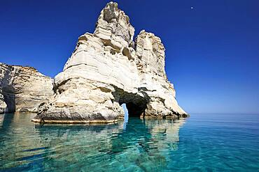 Crystal clear turquoise water and mighty rock formations, Kleftiko, Milos, Cyclades, Greece, Europe