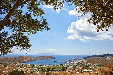 View of the large harbour bay of Serifos, Cyclades, Greece, Europe