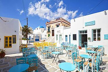 Seating in the village square in the Plaka of Serifos, Cyclades, Greece, Europe