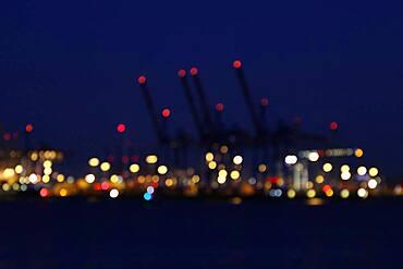 Dots of light in night sky, background image, harbor of Hamburg, Germany, Europe