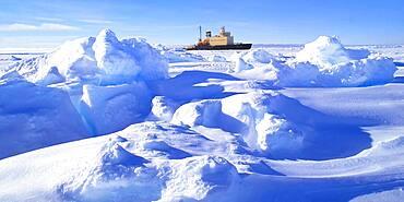 Russian Icebreaker Kapitan Khlebnikov parked in the frozen sea at Drescher Inlet Iceport, Queen Maud Land, Weddell Sea, Antarctica