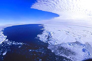 Aerial view over the Ice Shelf and the Antarctic Ocean, Queen Maud Land Coast, Weddell Sea, Antarctica
