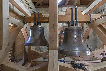 New bells mounted in the belfry, St, Johannis church, Neunhof, Mittelframken, Bavaria, Germany, Europe