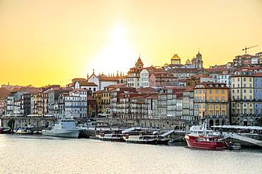 Historic downtown of city of Porto by sunset, Portugal, Europe