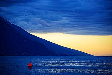 Lake Garda north shore at sunset, Turbel, Riva de Gardo, Trentino-Alto Adige, Italy, Europe