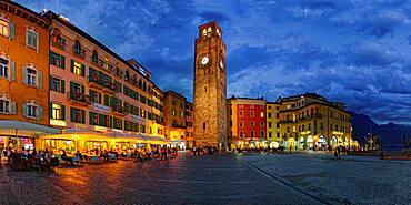 Piazza Novembre with Torre Apponale in the evening, Riva del Garda, Lake Garda North, Trento, Trentino-Alto Adige, Italy, Europe